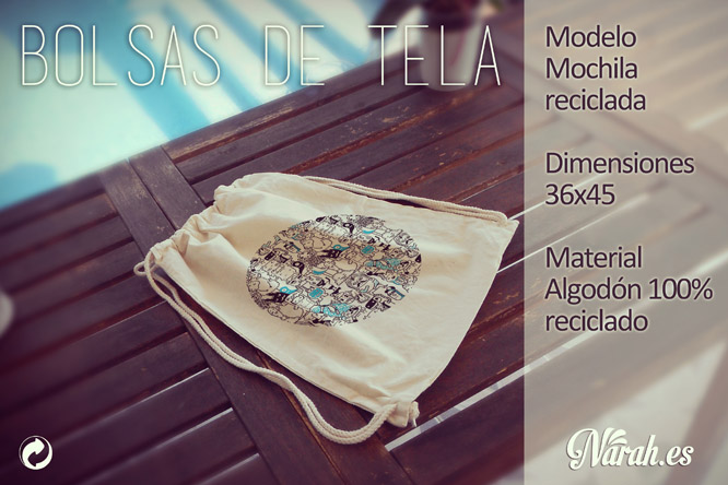 bolsa de tela modelo mochila reciclada narah
