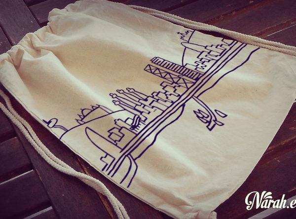 mochila tela blanca barcelona draw zoom