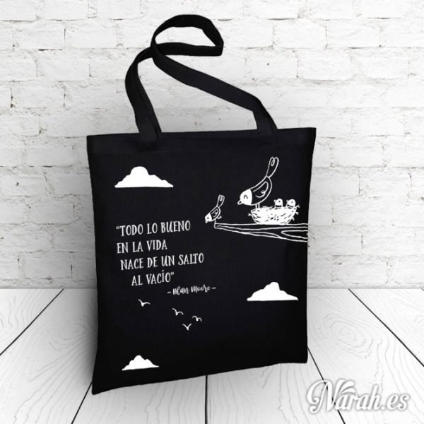 bolsa de tela ilustrada con mensaje