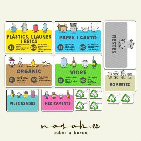 Pegatinas adhesivas de reciclaje